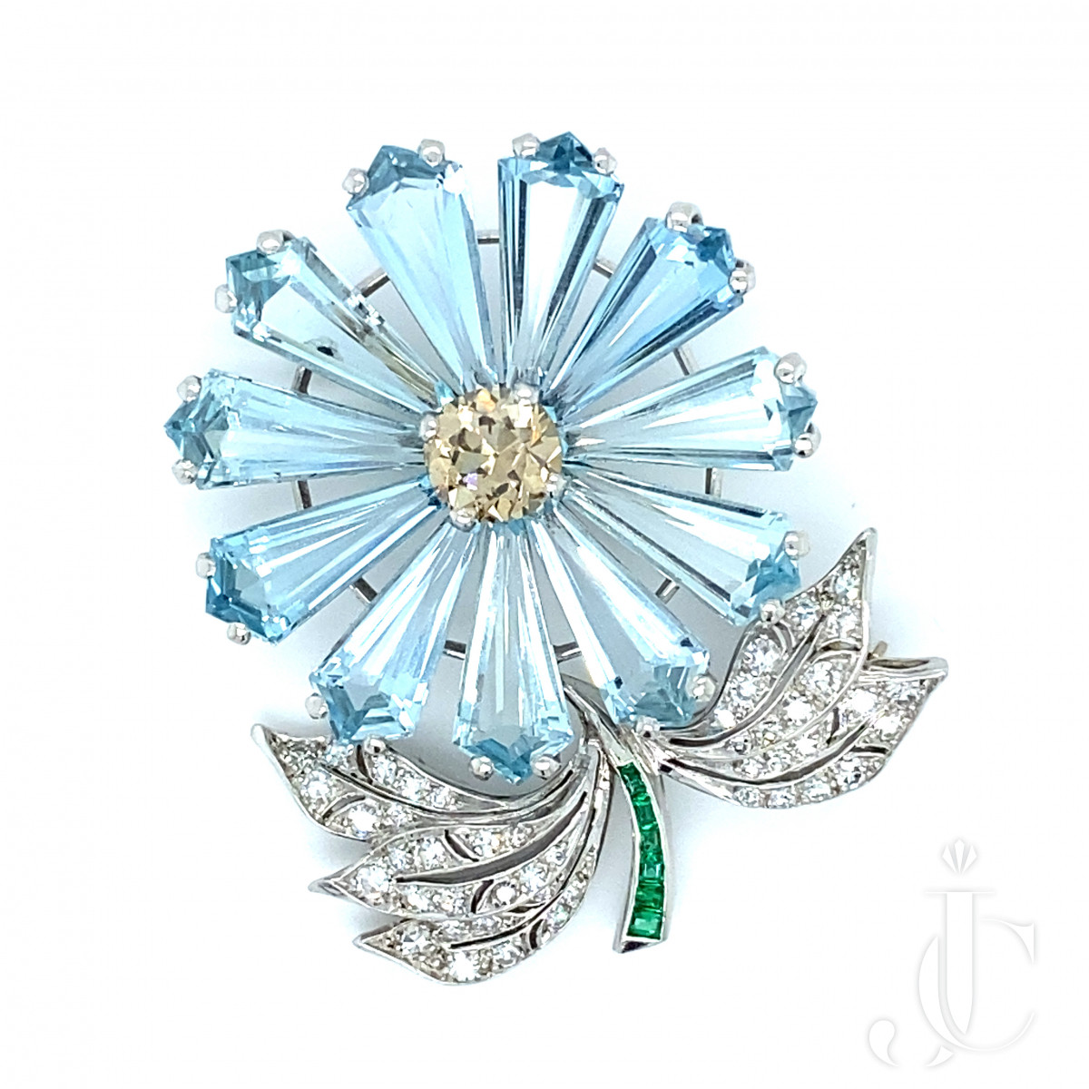 Aquamarine Flower Brooch
