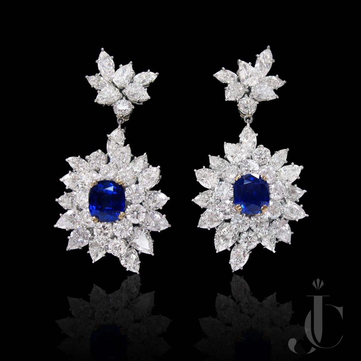 Harry Winston Platinum Sapphire and Diamond Earrings, circa 1965