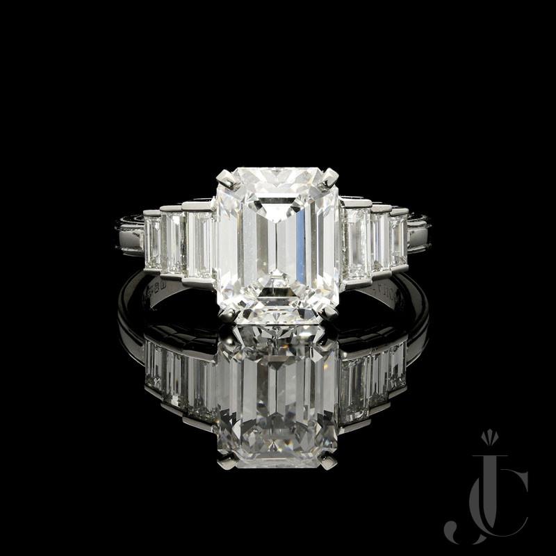 3.19ct D IF Emerald Cut Diamond ring