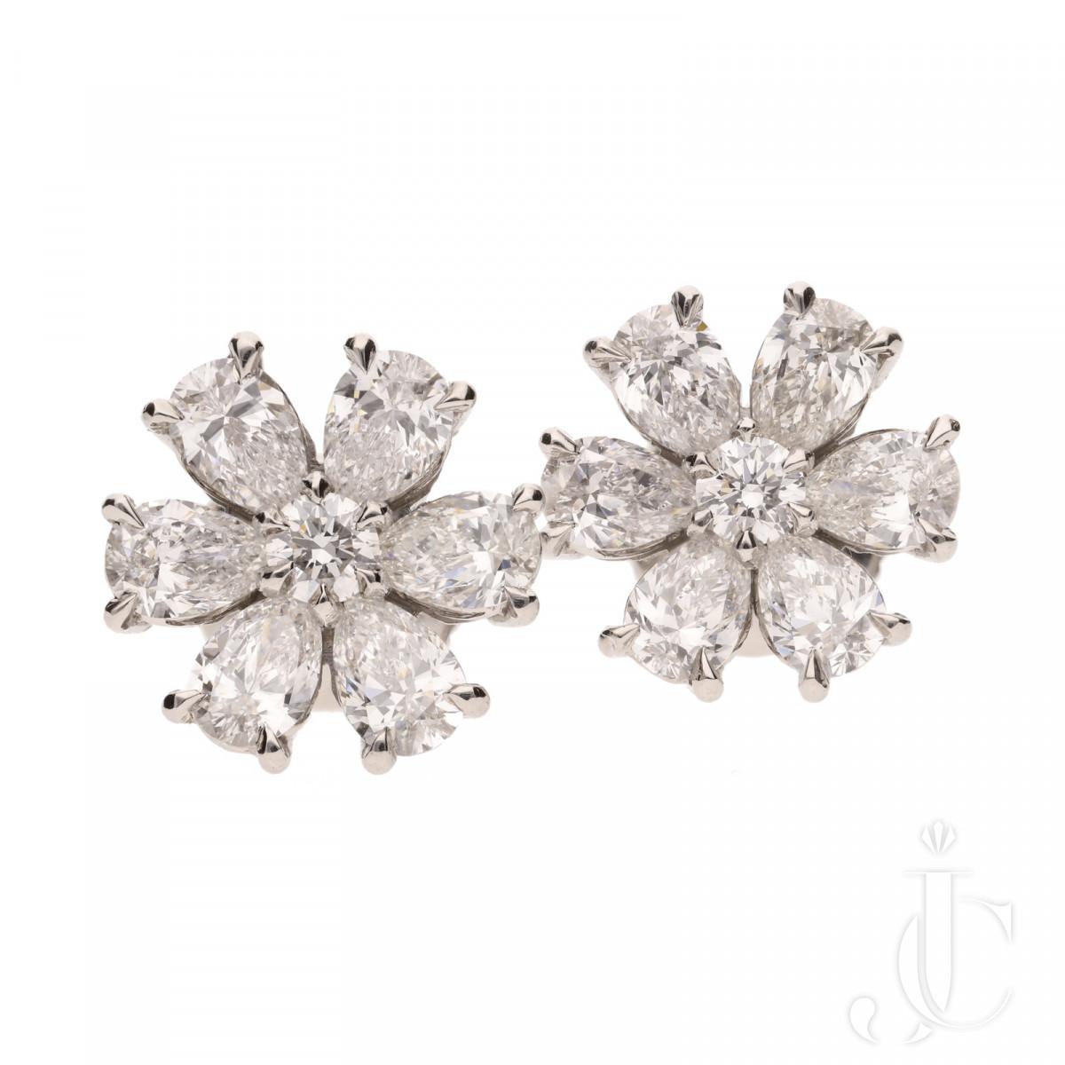 G VS Diamond flower head cluster earrings