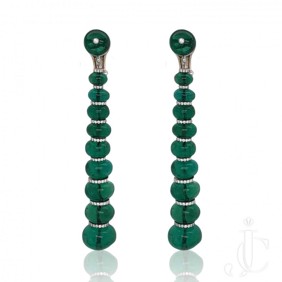 Spectacular Emerald Bead Drop Earrings