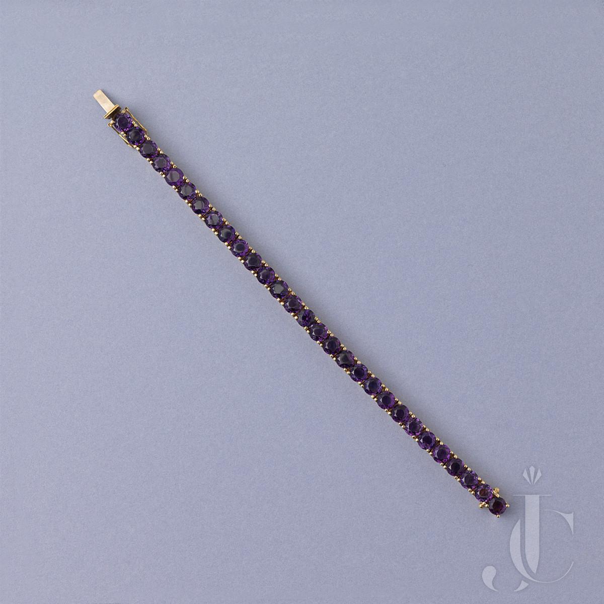 Gold and amethyst line bracelet