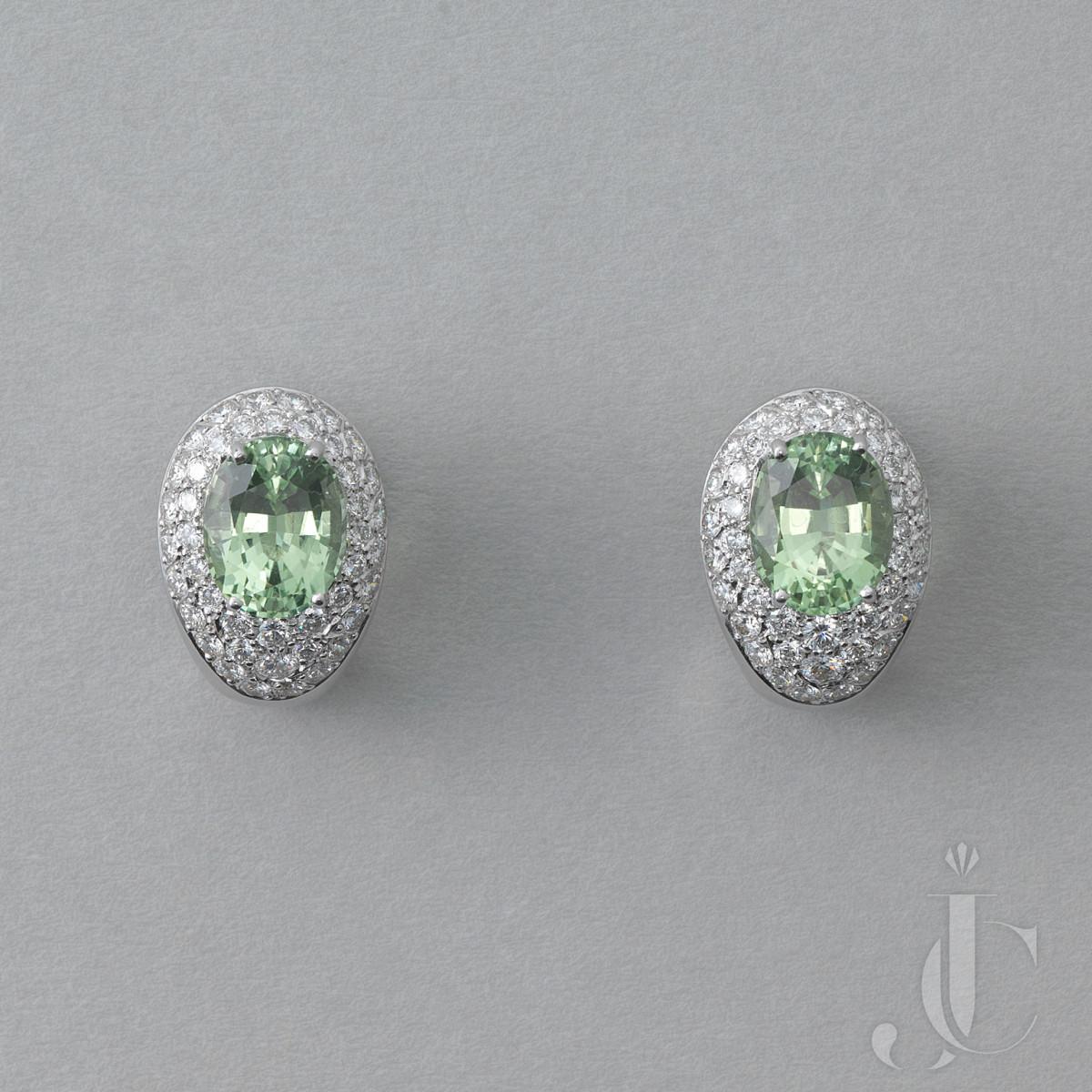 White Gold Diamond and Tourmaline Earrings