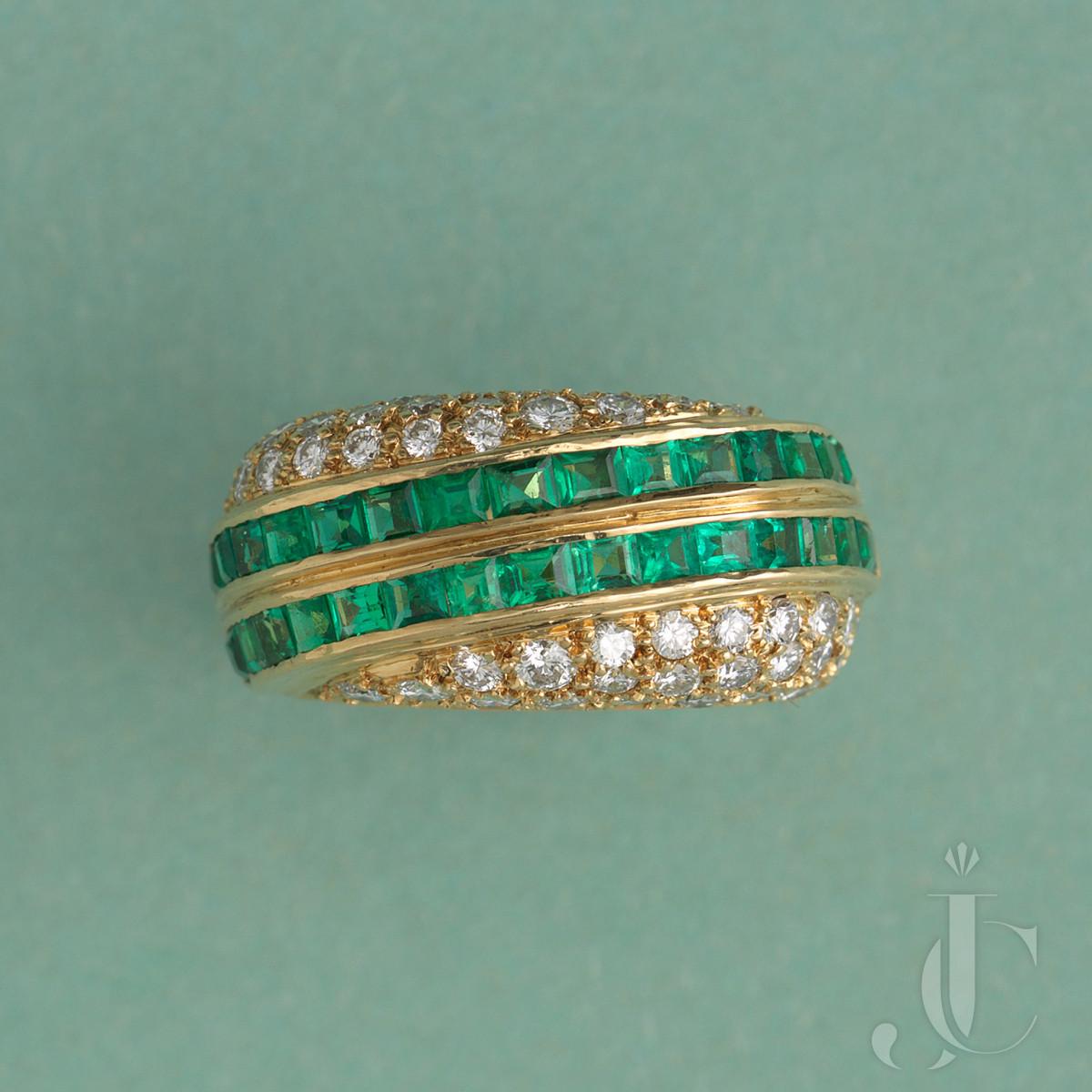 Gold Diamond and Emerald David Morris Ring