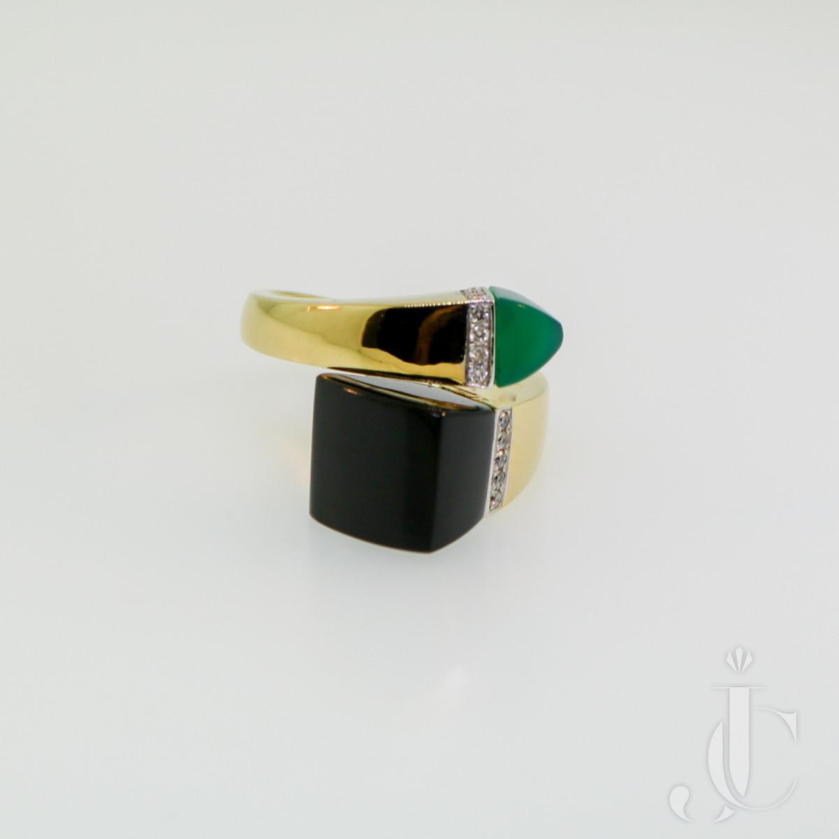 Diamond, Onyx & Chrysoprase Ring