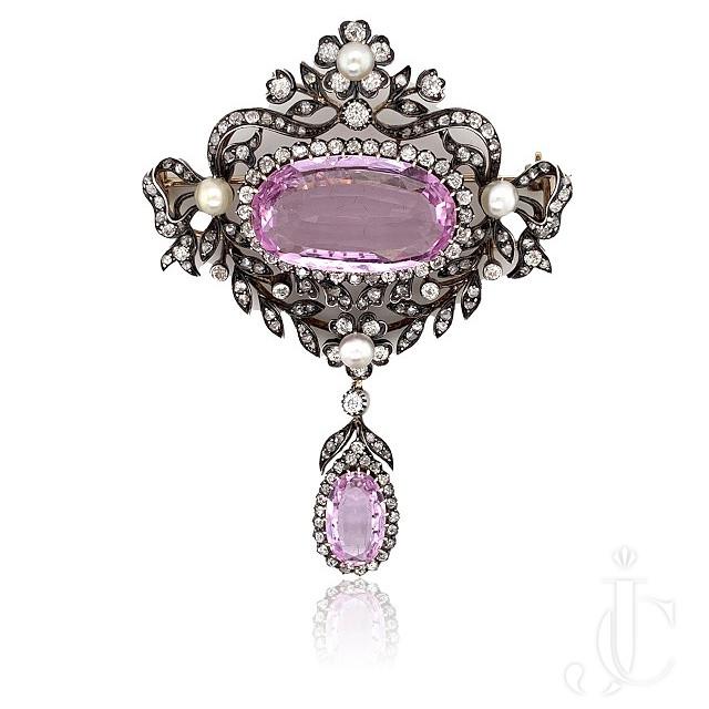 Victorian Topaz Diamond Natural Pearl Pin