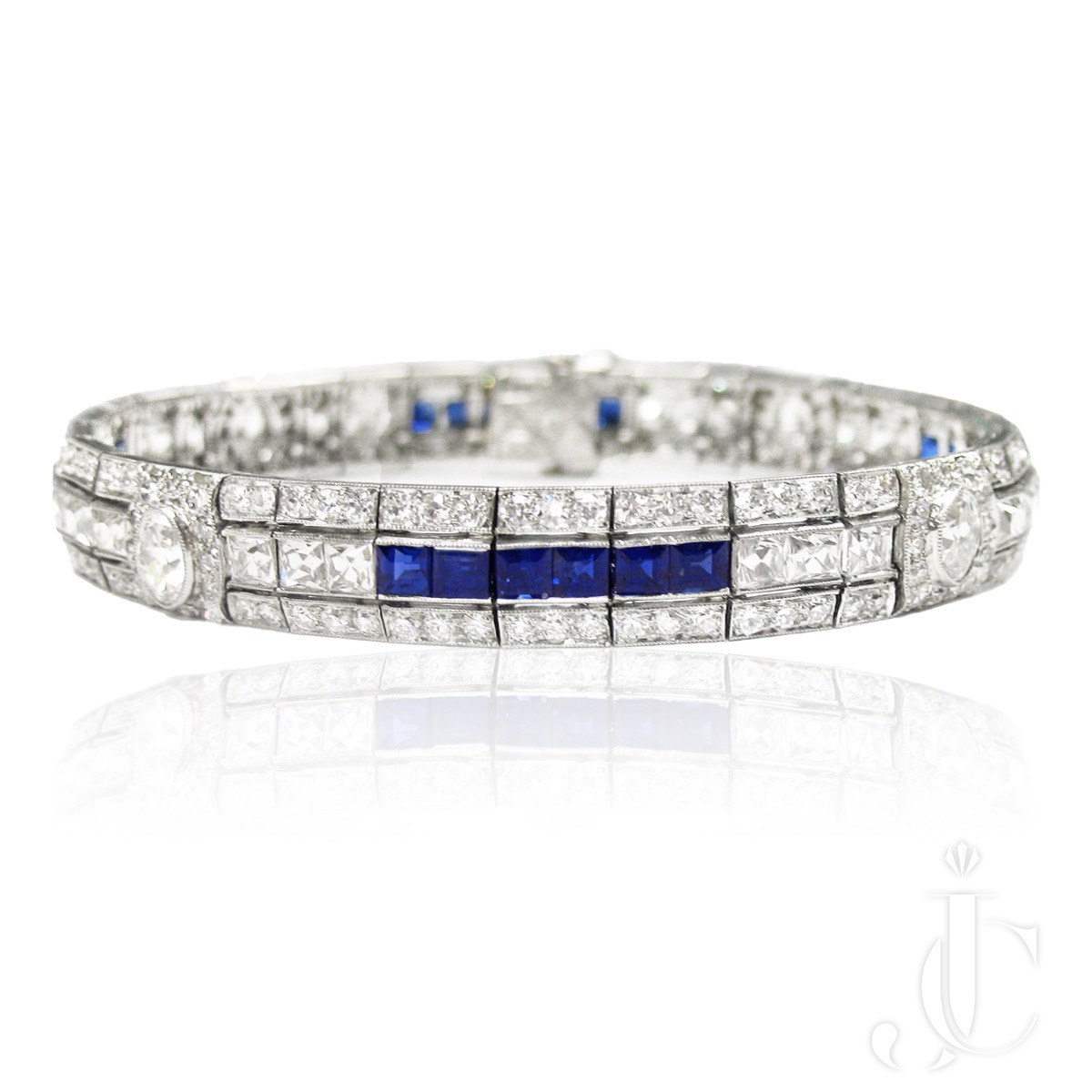 Tiffany Art Deco Platinum Sapphire and Diamond Bracelet with French Cuts