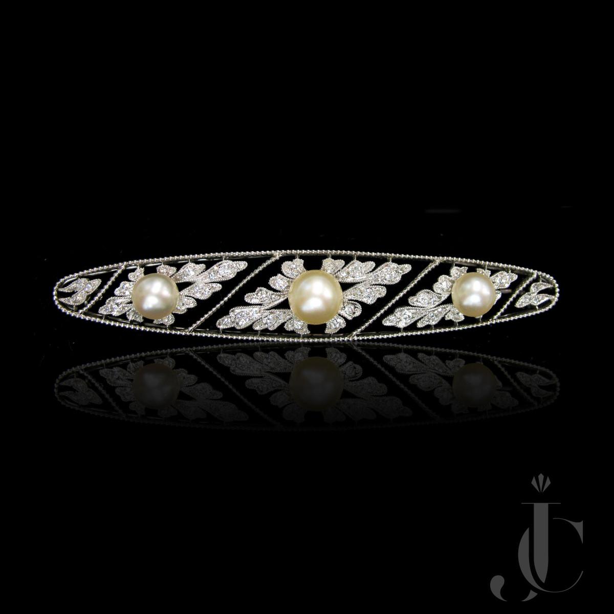 Platinum Pearl and Diamond Bar Pin, circa 1910