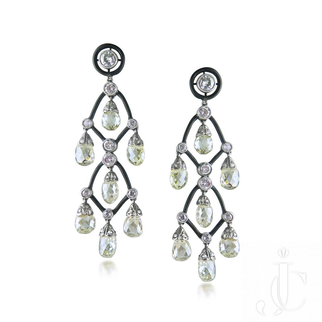 Pair of diamond and enamel cascade ear-pendants