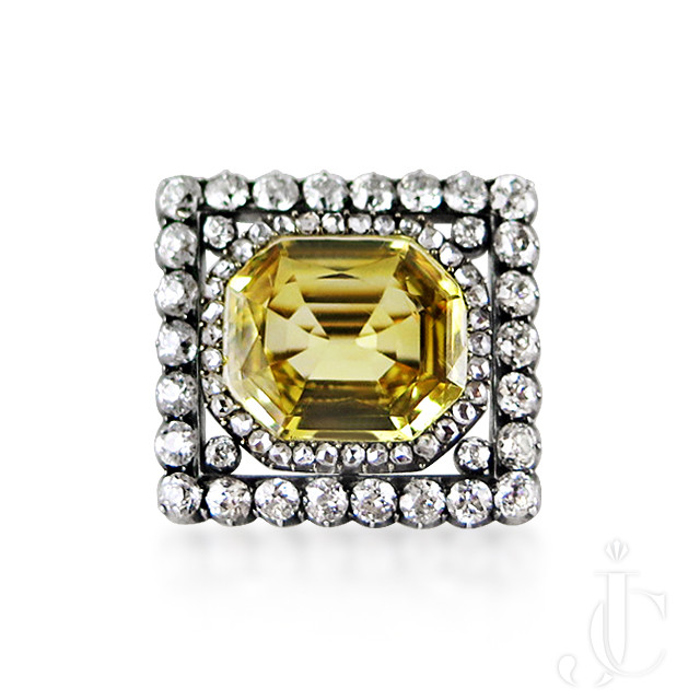 Antique yellow sapphire and diamond brooch