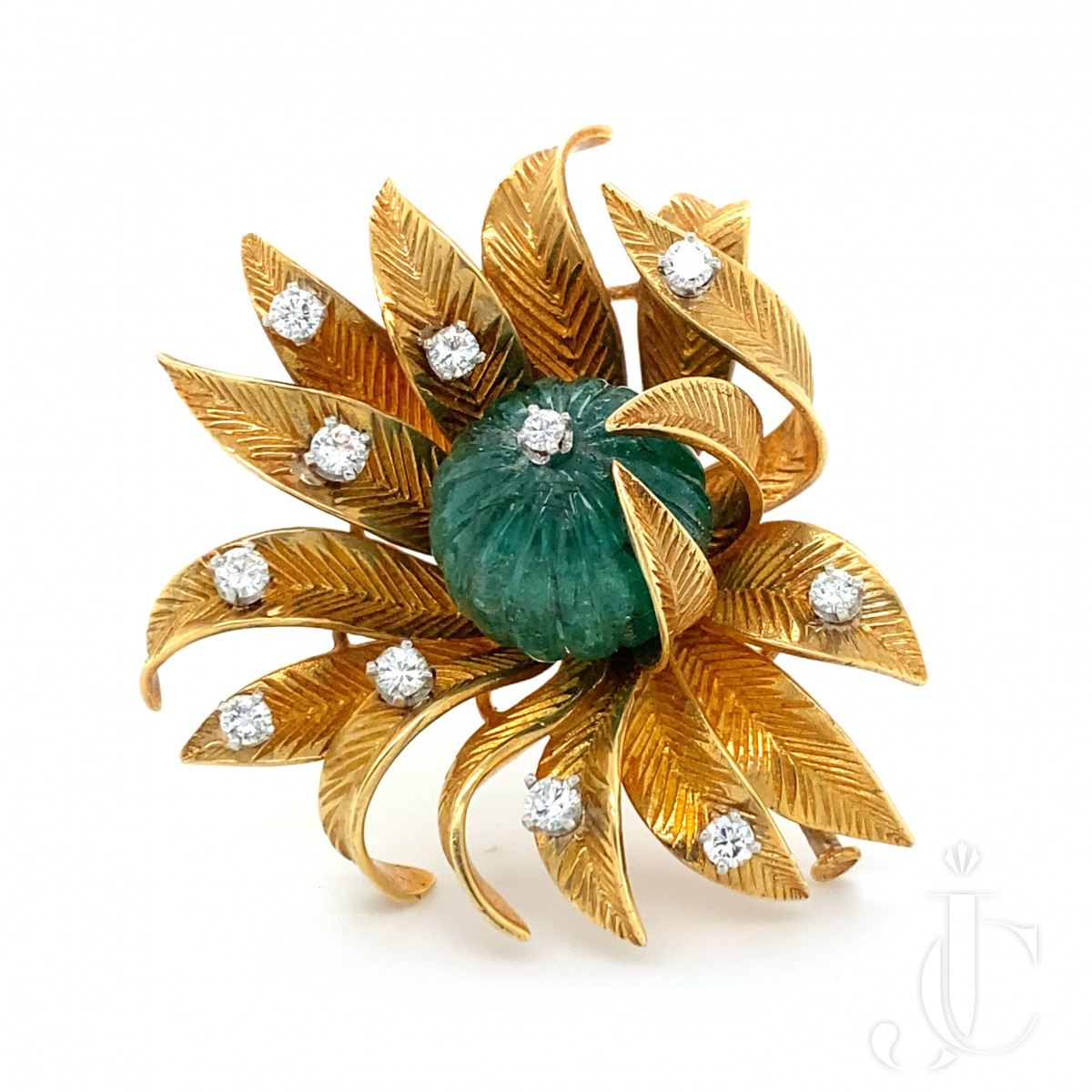 Carved Emerald Pin