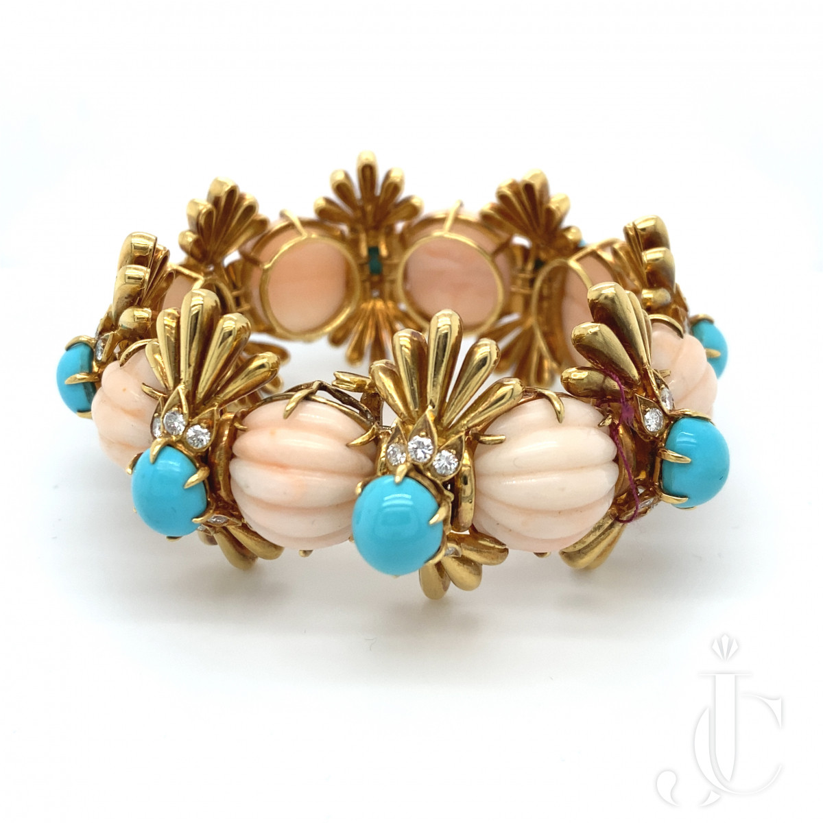 Pink Coral and Turqouise Bracelet
