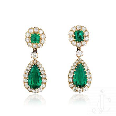 Antique Colombian Emerald Diamond Earrings