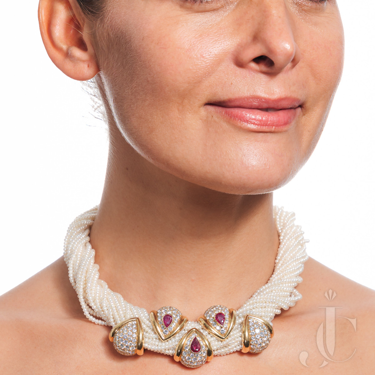 French 18k gold and pearl necklace set with diamonds and rubies by Rene Boivin