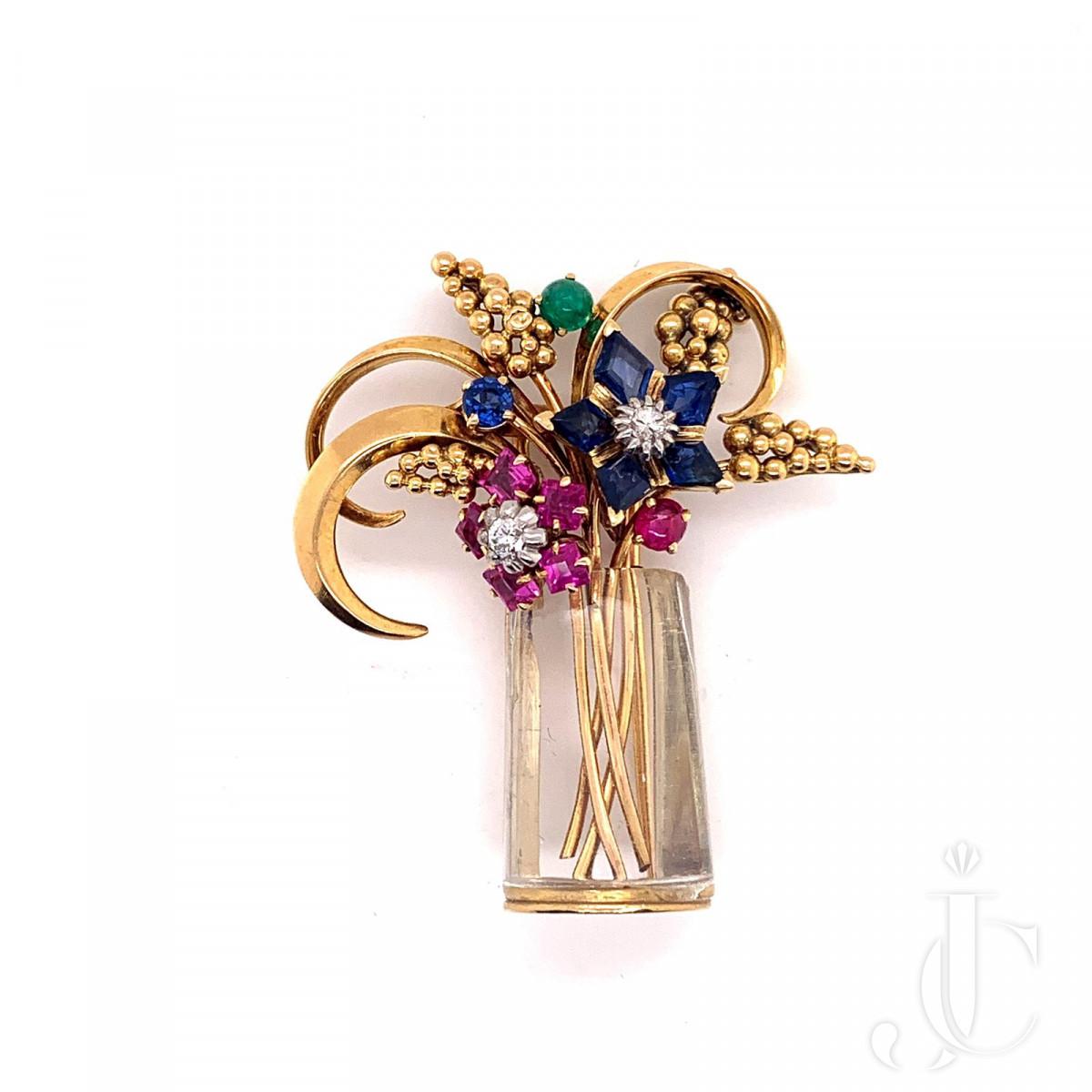 "Marchak  An 18k gold ruby, sapphire, emerald and diamond ""Tutti frutti "" basket brooch"