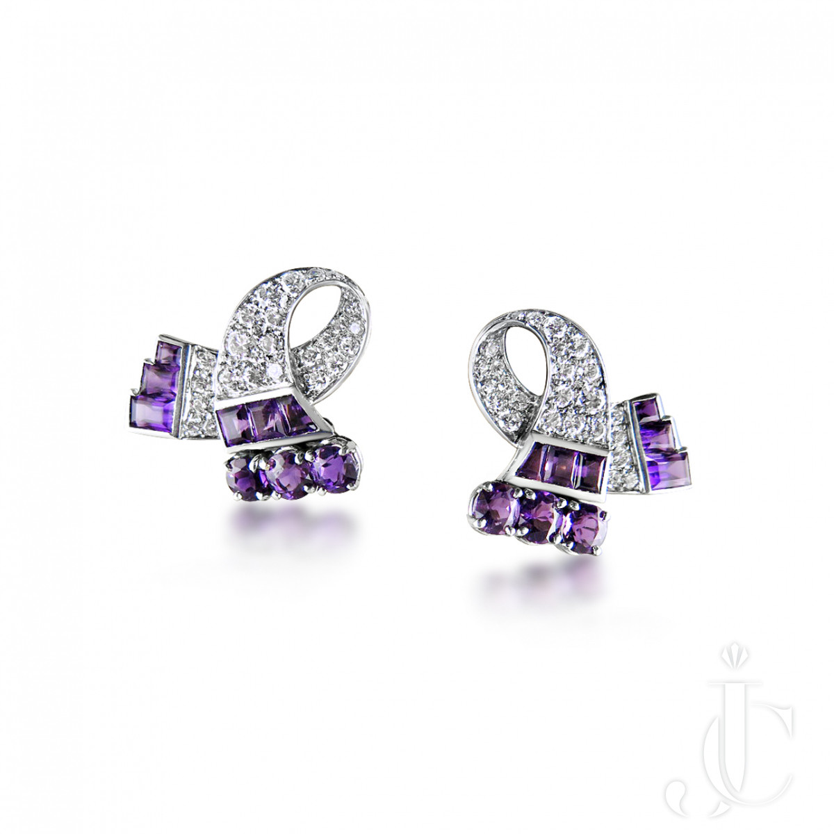 Pair of amethyst and diamond earclips