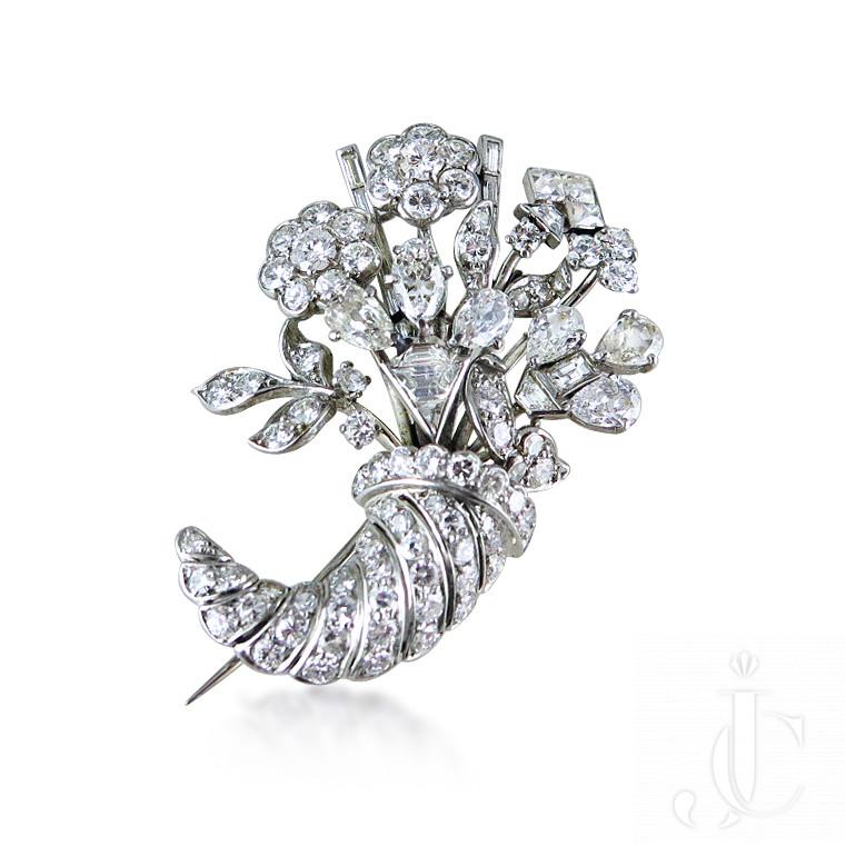 Vari-cut diamond cornucopia brooch