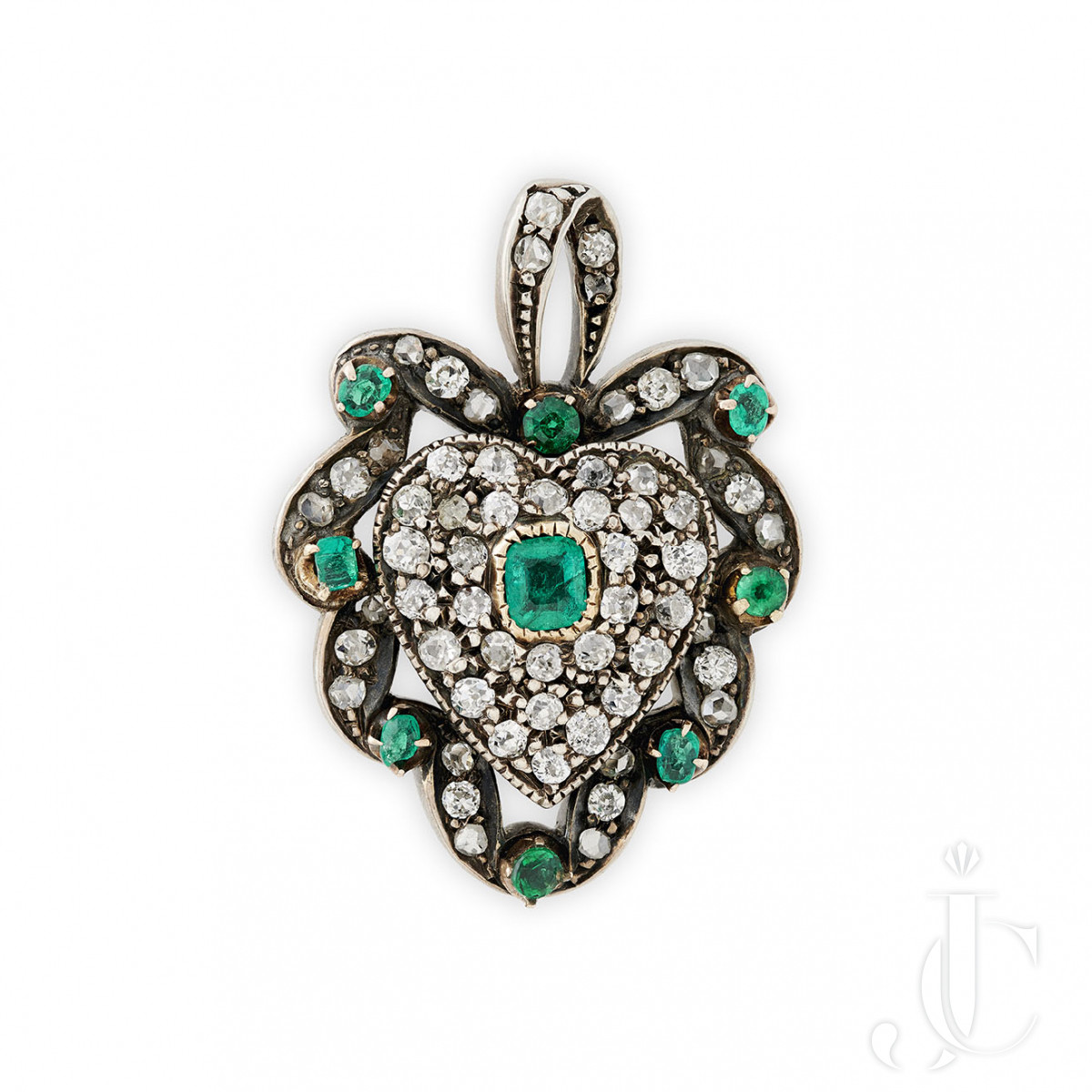 Victorian emerald and diamond heart brooch/pendant