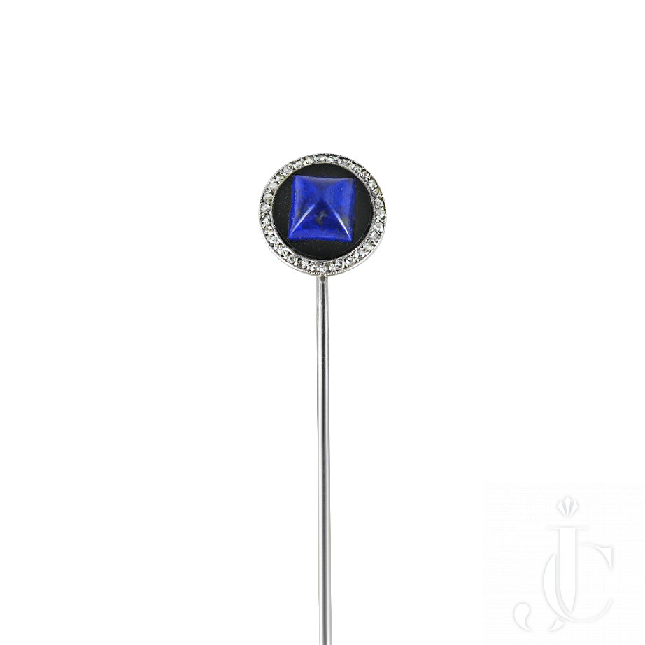 Lapis lazuli, onyx and diamond stickpin by Cartier