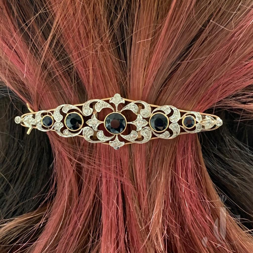 Edwardian sapphire diamond barrette