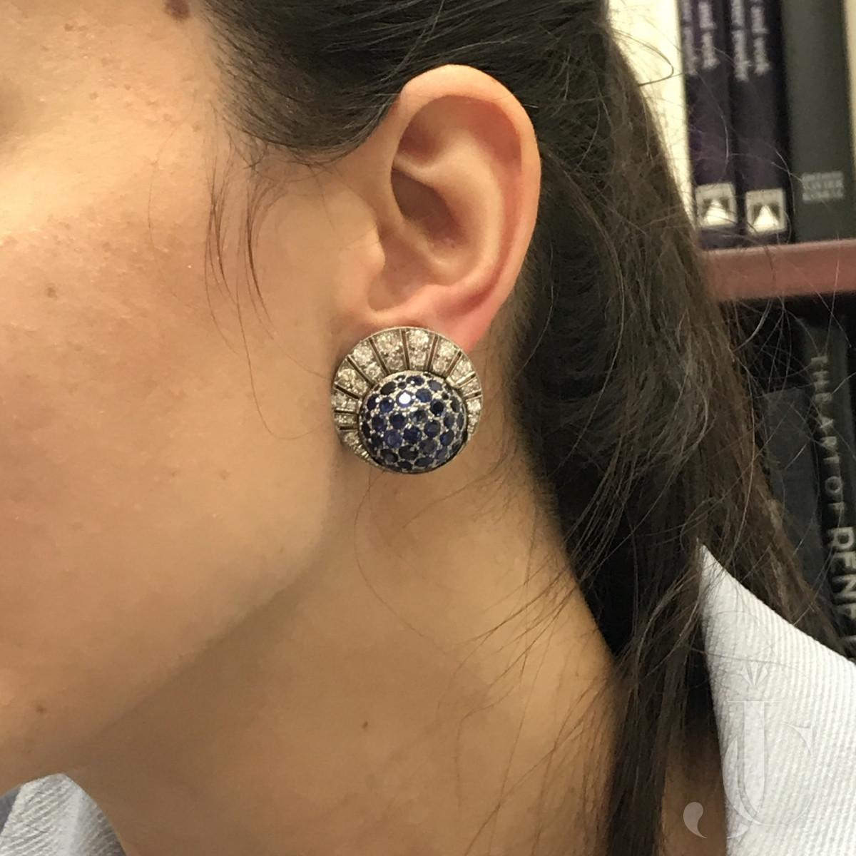 Sapphire & Diamond Bombé Earclips