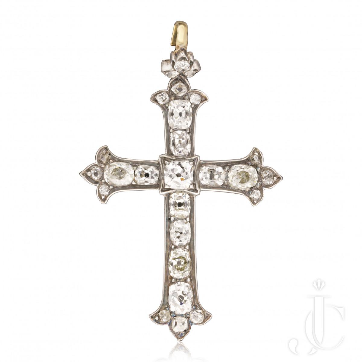 Victorian Old Mine Diamond Cross c.1870