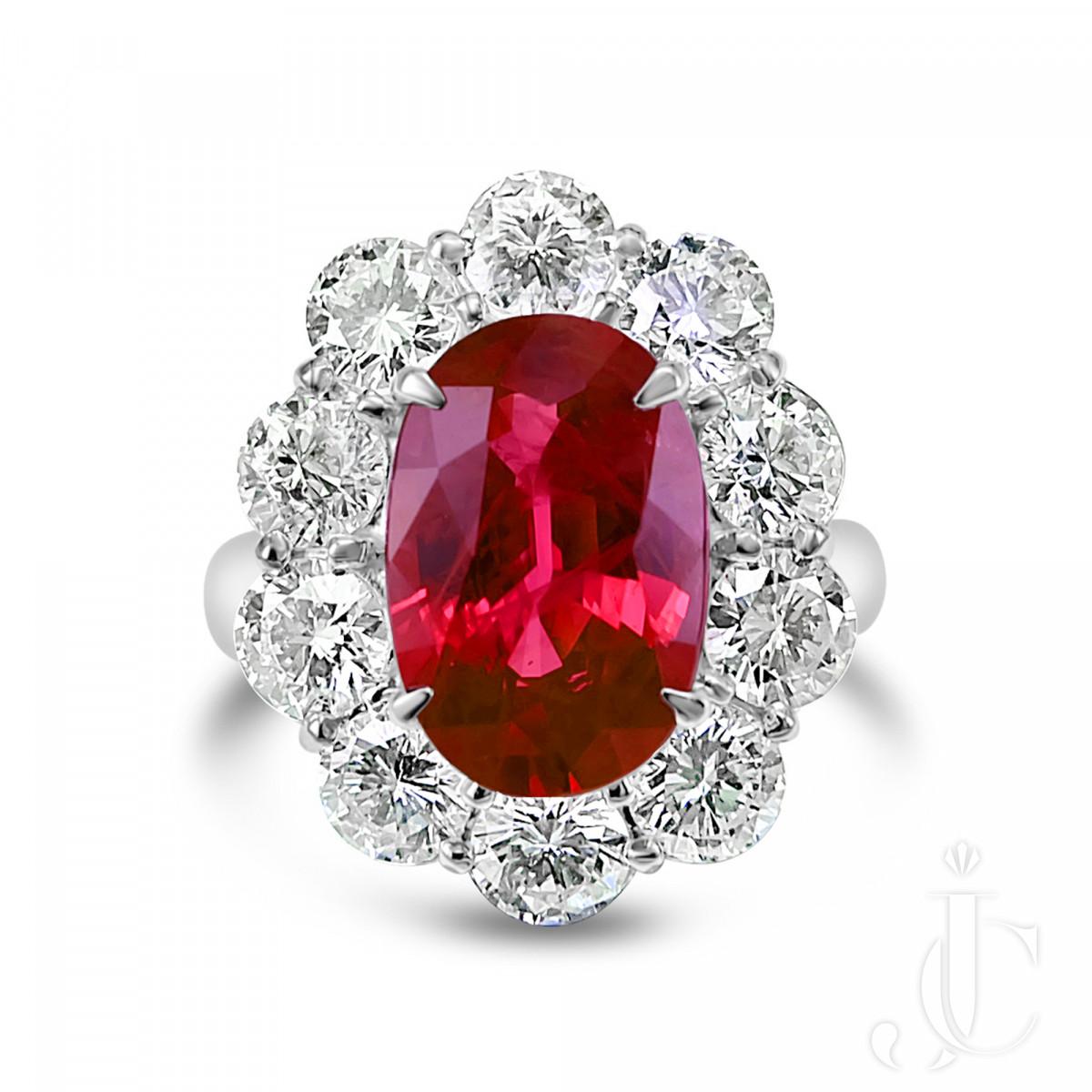 GIA Certified 4.18 Carat BURMA Ruby and 2.41 Carat Diamond Wedding Ring