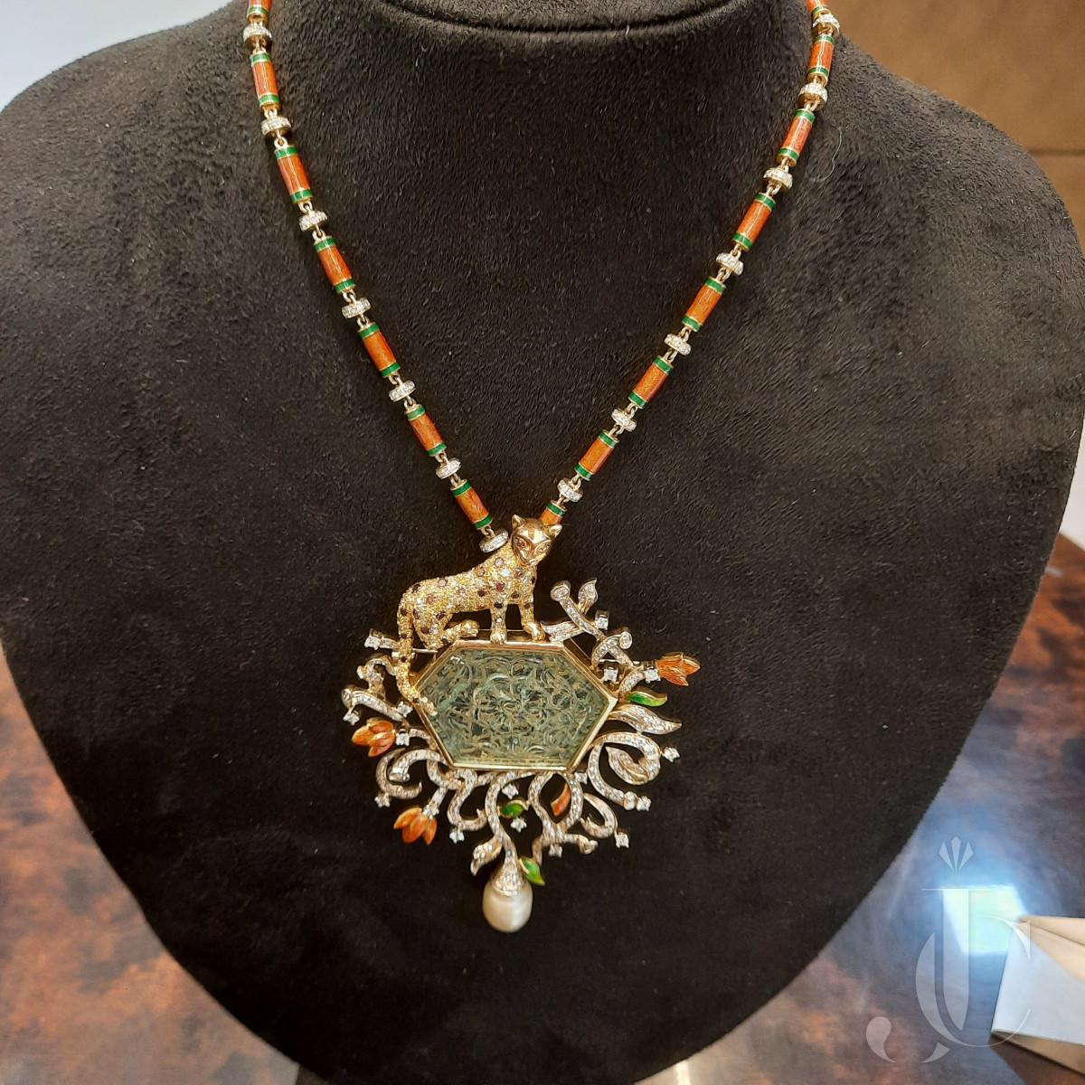 Emerald Carved Cab (Takti) Pendant Necklace with Fancy coloured diamonds, Enamel & white diamonds