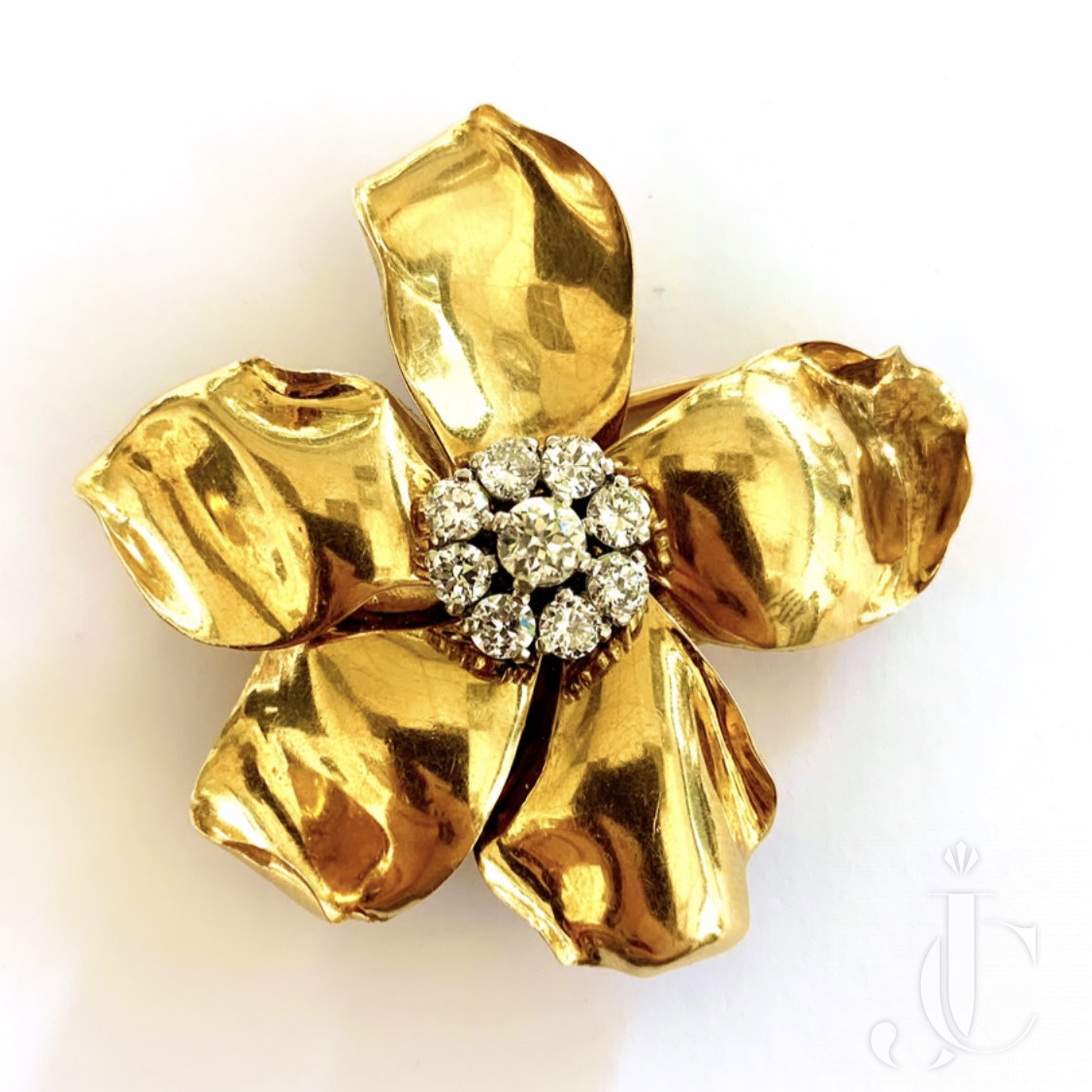 Cartier Paris Retro 18Kt Gold and Diamond Clip