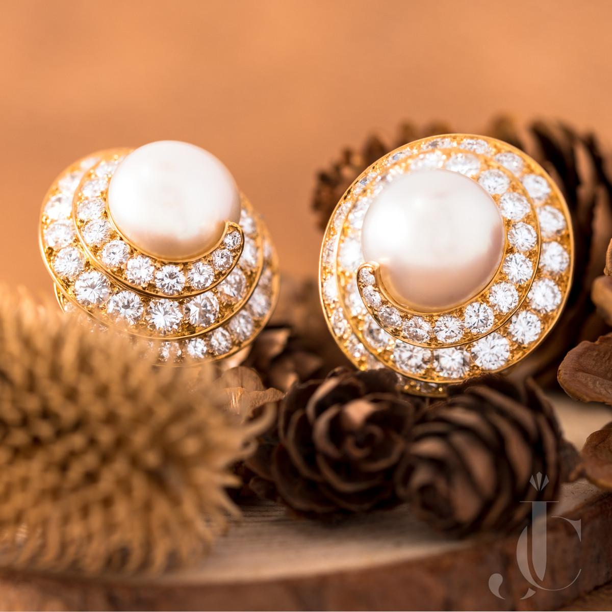Van Cleef & Arpels Pearl and Diamond Ear Clips