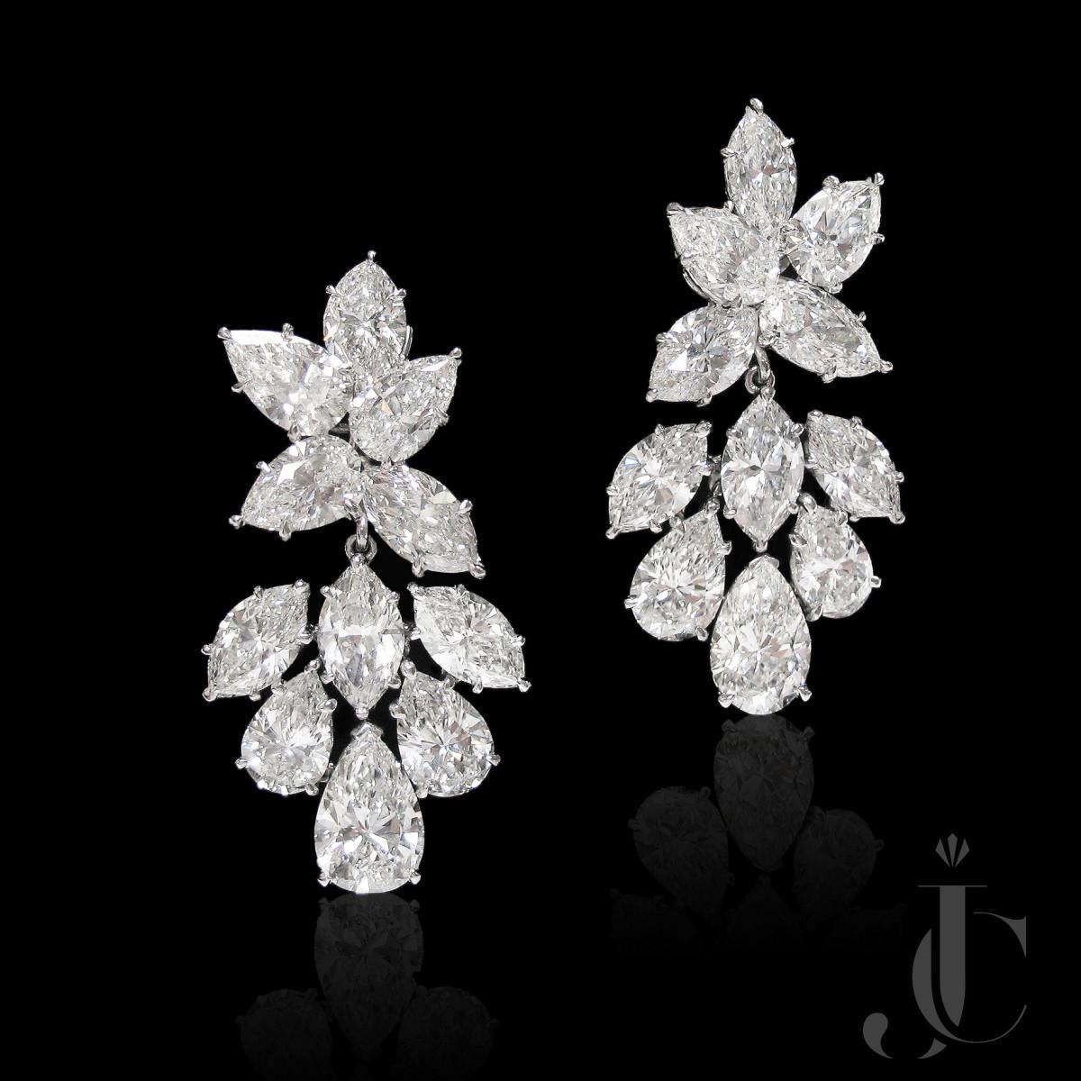 Platinum Fancy Shape Diamond Drop Earrings
