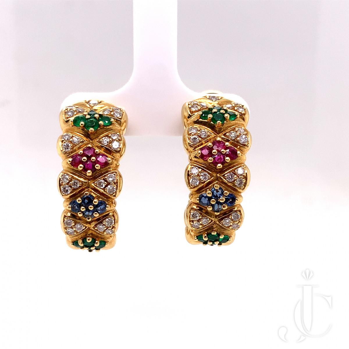 18K Gold pair of earrings with sapphire, ruby, emerald and diamond by Mauboussin