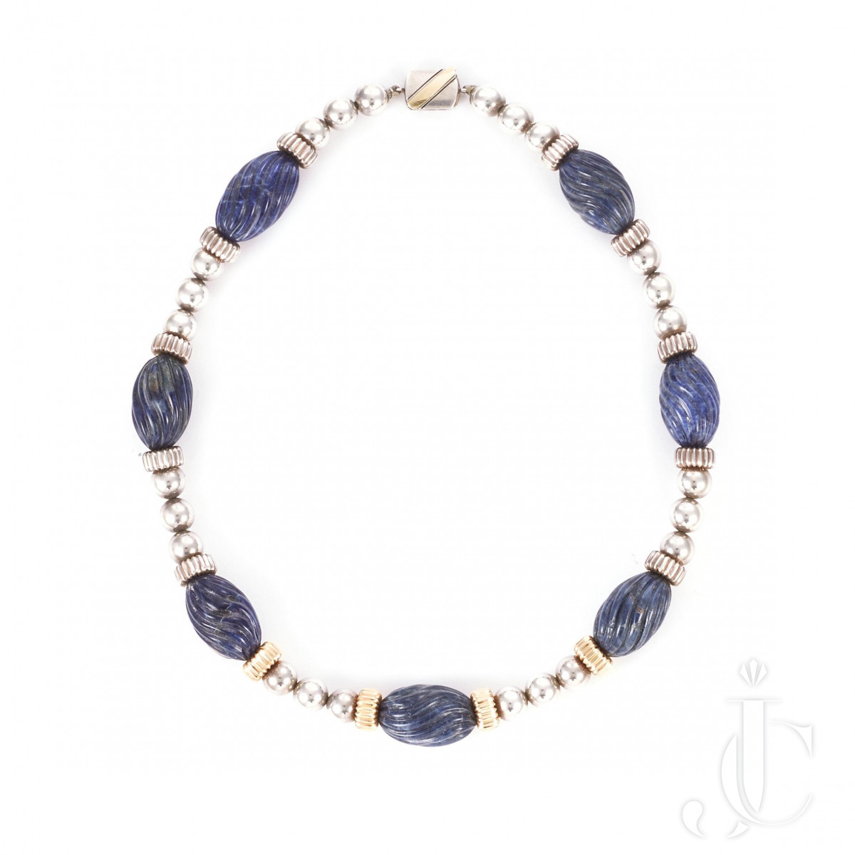 18k gold and Silver, lapis necklace, Cartier