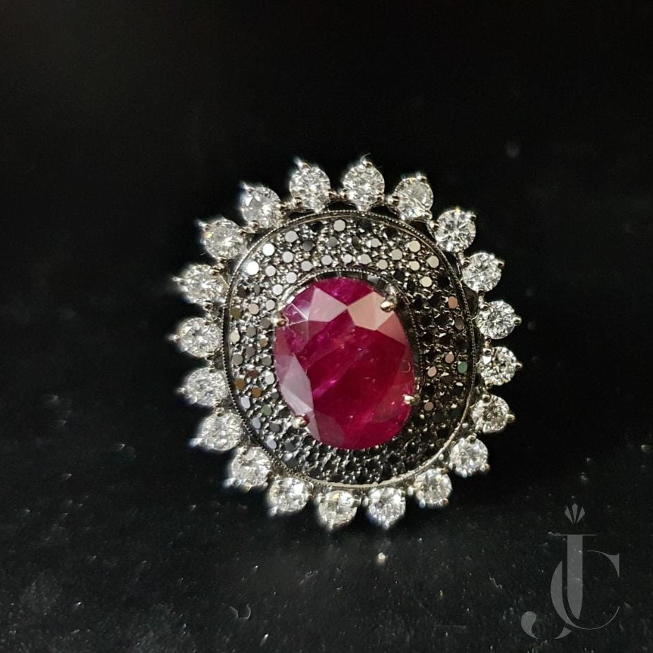 Natural Burma Ruby Ring with Black & White Diamonds