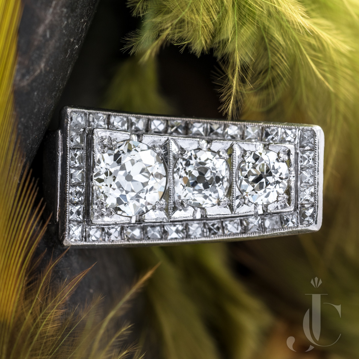 Retro Platinum Diamond Ring