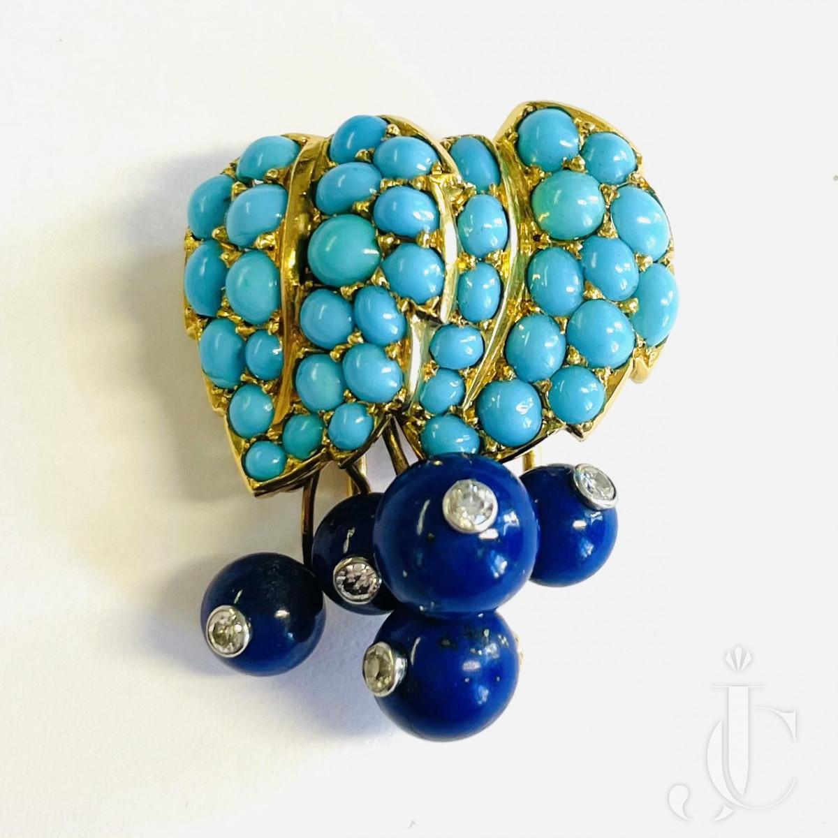 Cartier Turquoise Lapis Brooch Clip/Pendant