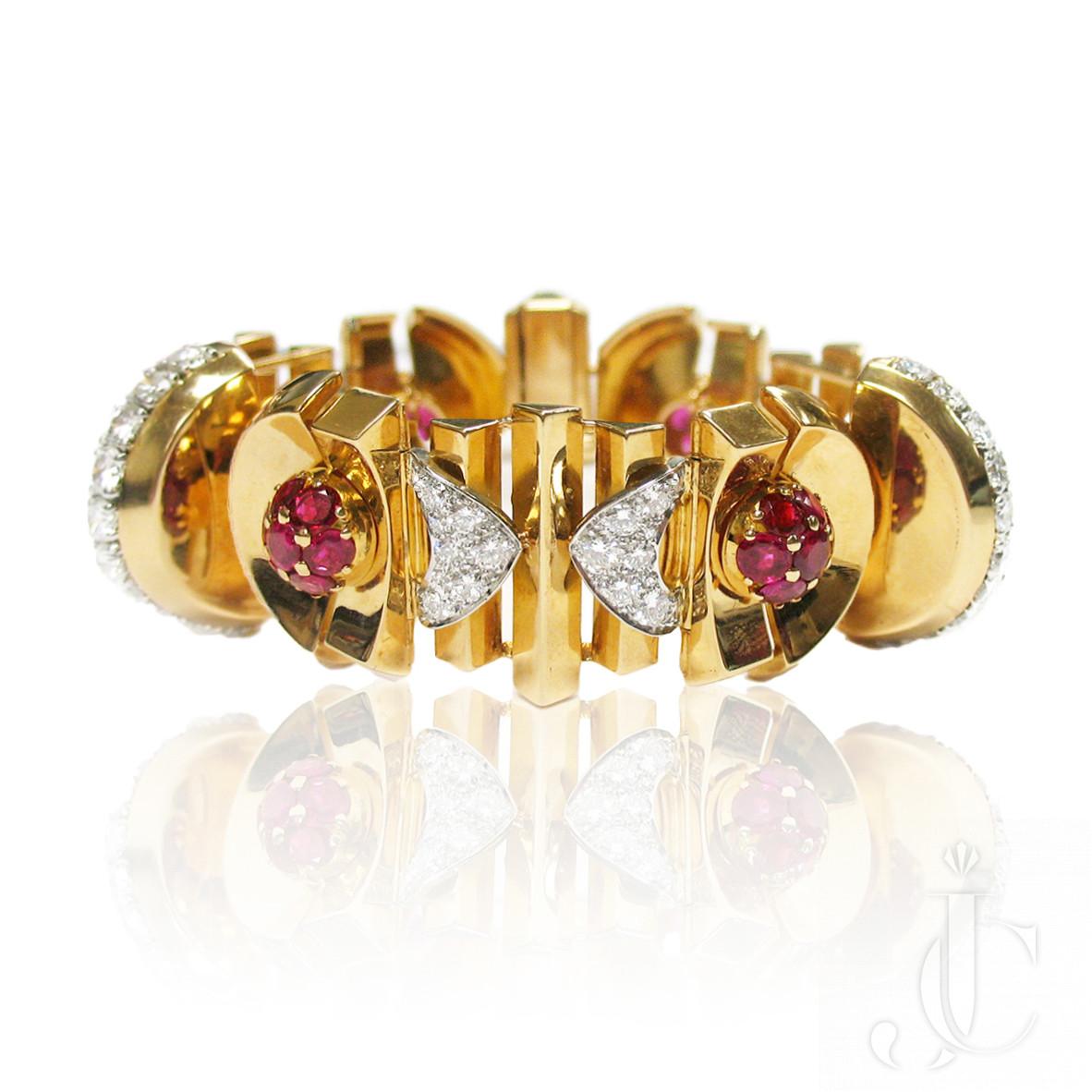 18kt YG Ruby and Diamond Retro Bracelet