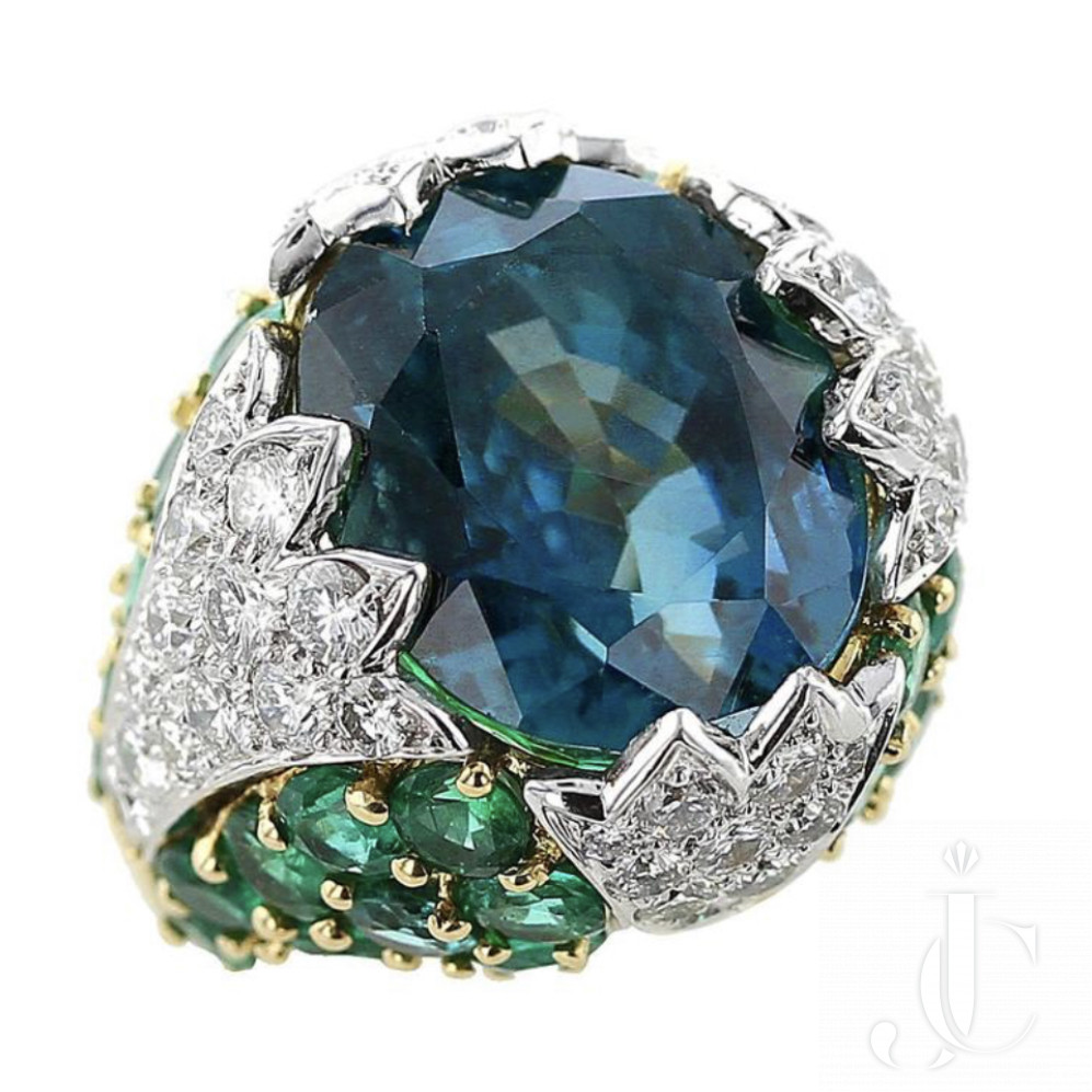 David Webb 38 Carat Natural No Heat Burma Sapphire Emerald Diamond Gold Ring