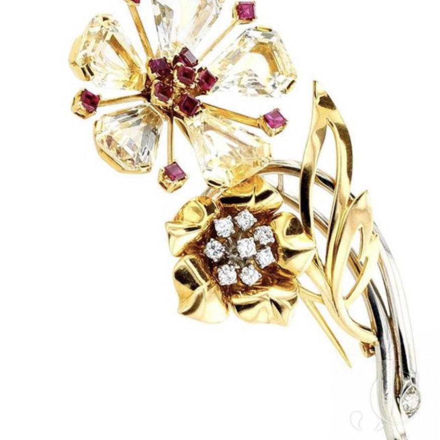 1940s Oscar Heyman Sapphire, Ruby, and Diamond Gold Brooch