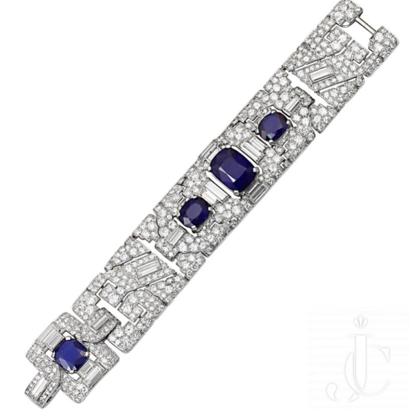 Cartier Magnificent Art Deco Sapphire Diamond Platinum Link Bracelet