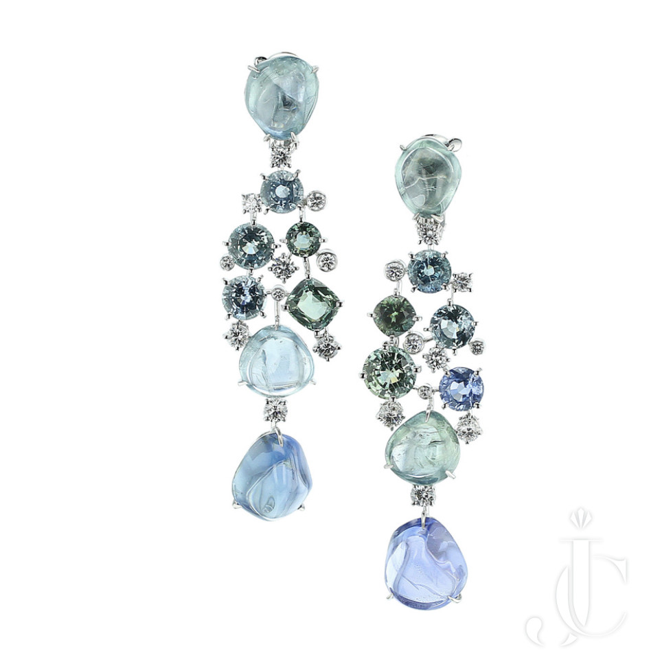 Cartier Fancy Sapphire and Diamond Platinum Earrings, French