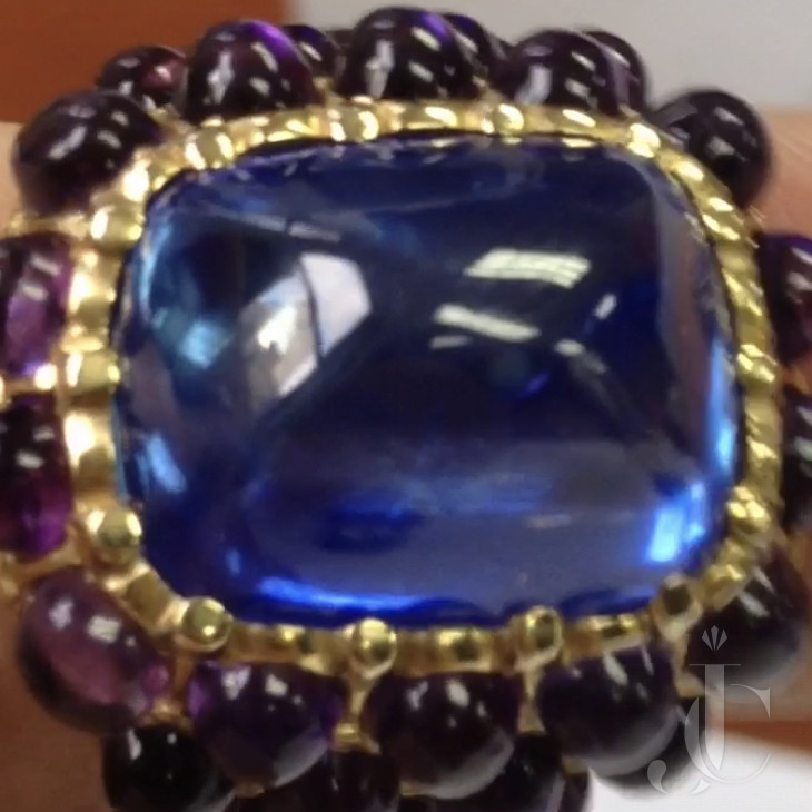 16.99 carat Kashmir sapphire exquisite sugarloaf cabochon in Verdura ring