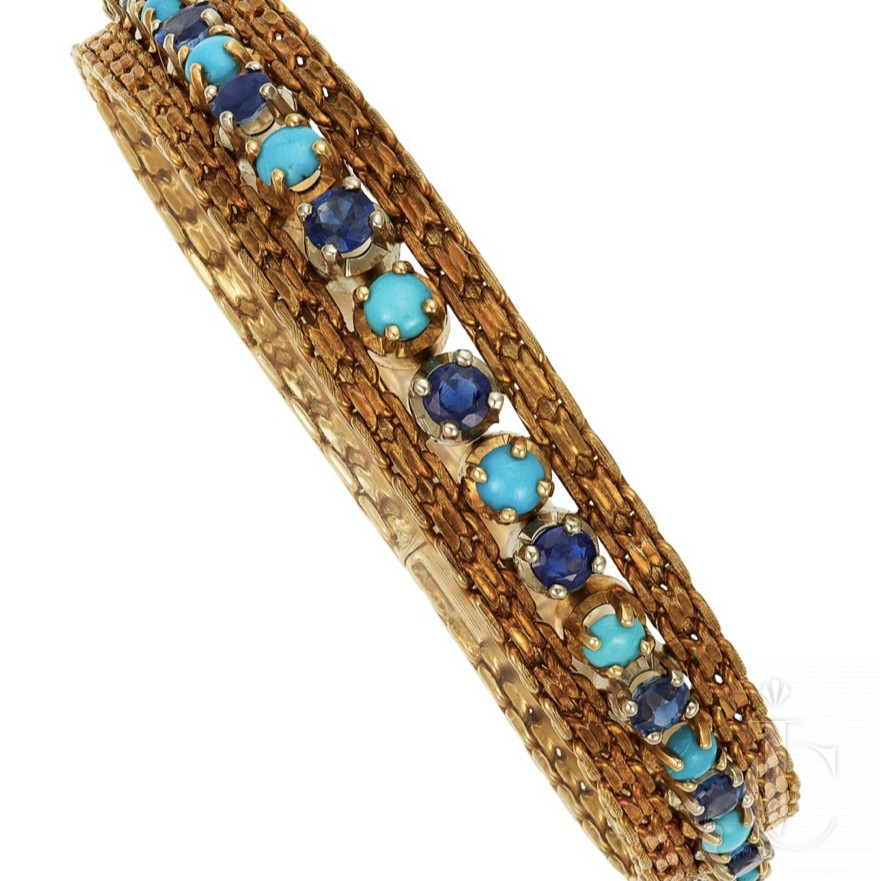 Cartier Bracelet With Sapphire and Turqoise cabochons
