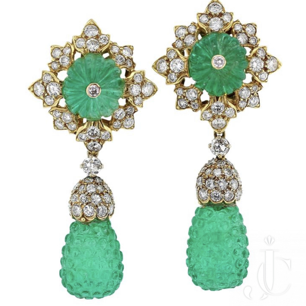 Colombian Carved Emerald, Diamond and Gold Earrings