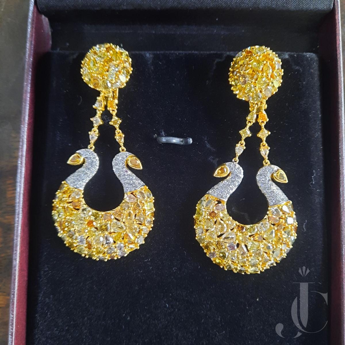 Unique Swan Design Fancy coloured Diamonds & white Diamond Earring