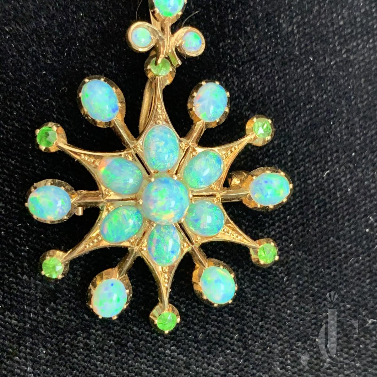 14kt YG Opal demantoid garnet pin & pendant