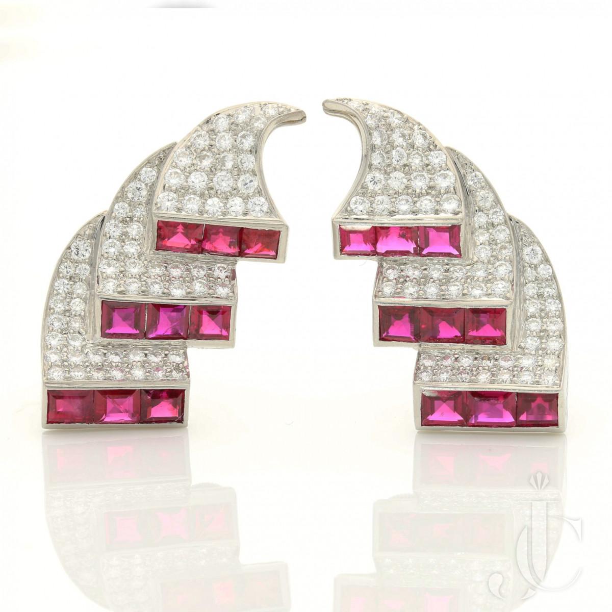 Drayson- Retro Ruby/Diamond up ear scroll earrings c.1950s