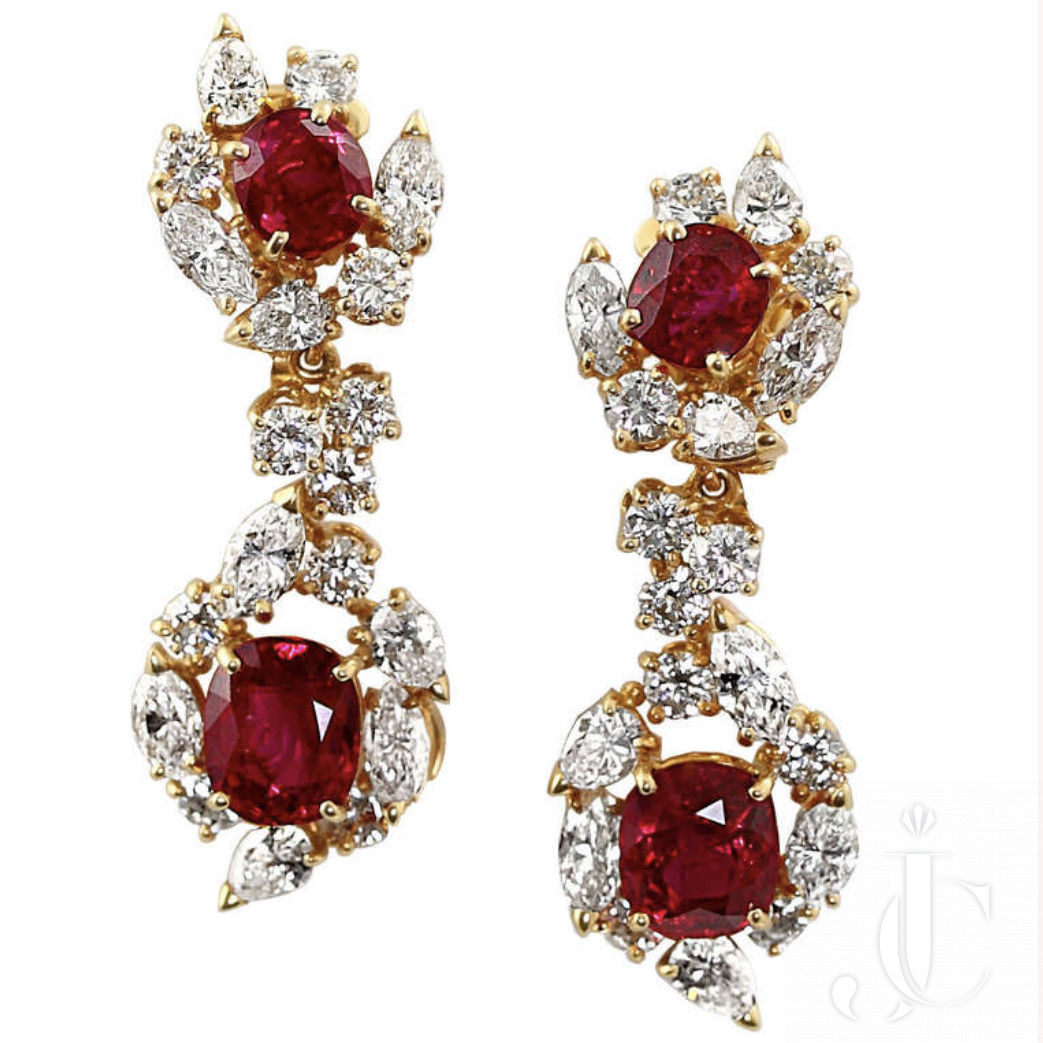 Magnificent pigeon Blood Very Cery clean Boucheron pair of Classic Burma NH Earrings