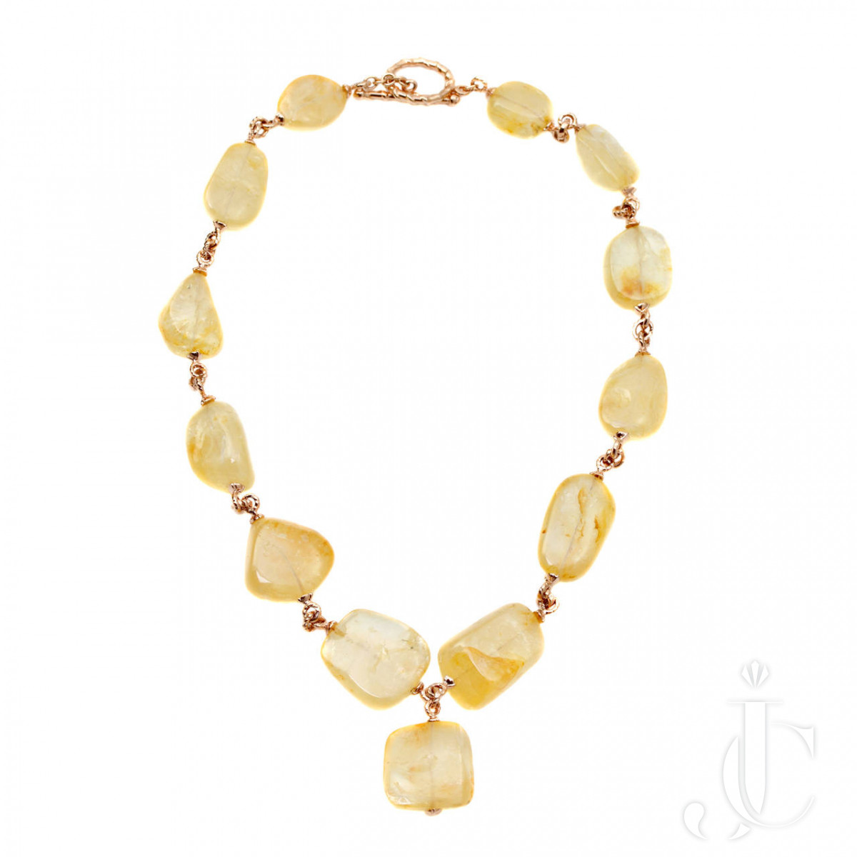 Stunning Yellow Sapphire NH necklace in 18 Kr Gold