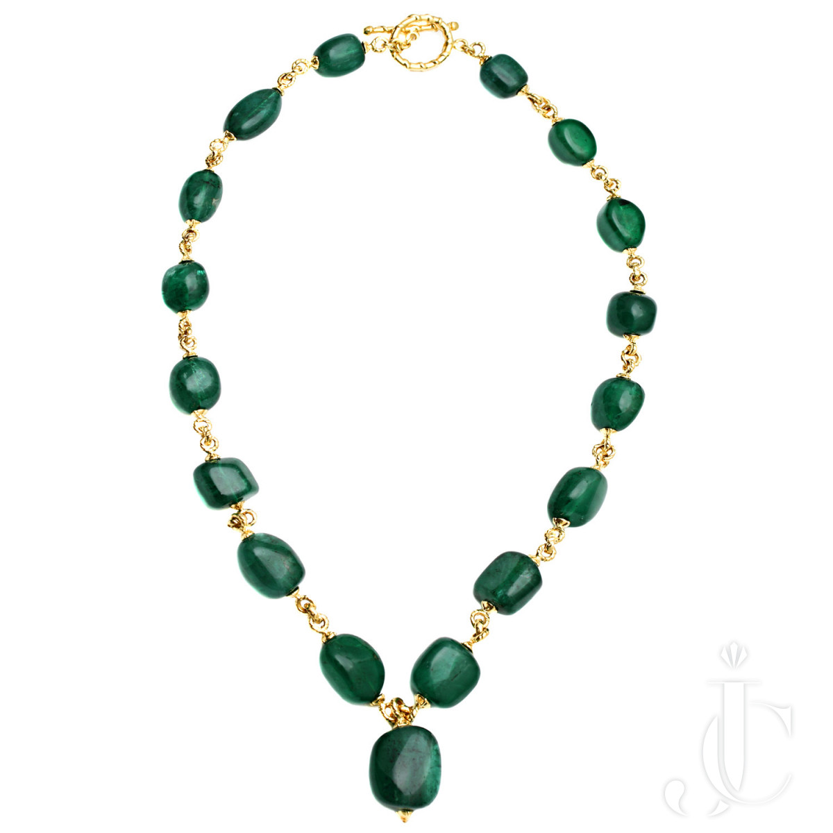 Baroque Emerald and Gold Link Necklace